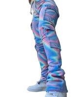 바지 더블 플러시 넥타이 염료 프린트 조깅 스웨터 여성 하이 허리 Drawstring 스택 바지 바지 겨울 사이드 포켓 스트레치 하단 2XL