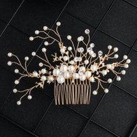 Neue Braut Kopfschmuck Perle Diamant manuell eingesetzter Kammlegierung Blume Gericht Haar Kleid Zubehör JCH227