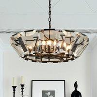 Luxury American Living Room E14 Led Chandelier Gold Black Chain Pendant Lighting Lustre Crystal Hanging Lamp Fixtures