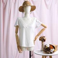 Jastie Kurzarm T-Shirt Stickerei Spitze V-Ausschnitt T Shirts Frauen Sommer Weibliche T-Shirt Vintage Elegante Hemden Top Frauen Kleidung