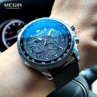 Megir Mode Quartz Montres Hommes Luxury Mesh Sangle Étanche Montre-Bracelet Décoratif Chronographe Décoratif Homme Relogio Masculino 1010 x0625