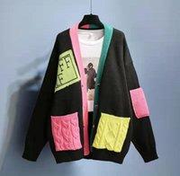 Women Long Sleeve Sweater Woman V-neck Knit Cradigan Coats Geometric Top Lady T Shirt High Quality Sweaters Jacket