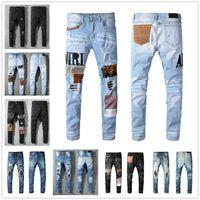 Mode coole casual hohe qualität männer jeans vintage loch denim hosen verzweifelt zerrissenen slim fit motorrad biker für mann