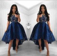 2021 Vintage Granatowy Niebieski Koronki Koktajl Sukienki Neck High Niski Krótki Party Prom Suknie Homecoming Sukienki Arabskie Vestidos Suknie Wieczorowe
