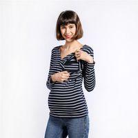 النساء عارضة الرضاعة الطبيعية شريط طويل الأكمام تي شيرت الأكمام الأمومة قمم قميص أزياء للنساء الحوامل