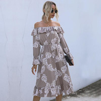 Casual Dresses Ruffle Dress Woman Vintage Straight Shoulder Long Female Clothing Intellectual Urban Wrapped Chest Trumpet Sleeve Split