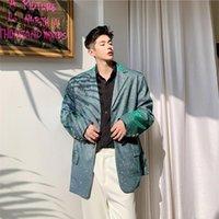 Club nocturno para hombre Blazers brillantes sueltos Vintage Pista Traje Abrigo Personalidad Primavera High Street Casual Masculino Single Blazer Menits Trajes