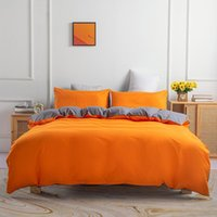 Bedding Sets Solid Bed Linens Duvet Cover Quilt Comforter Case Pillow Covers Set King Queen Full Twin Size Orange Home Textiles