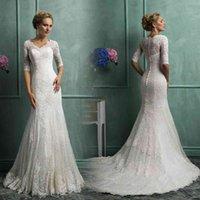 Half Long Sleeves Lace Mermaid Wedding Dresses 2021 with Appliques Custom V Neck Court Train Bridal Gowns vestido de noiva