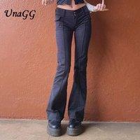 unagg indie جماليات ضئيلة منخفضة الخصر مضيئة السراويل الإلكترونية جيوب خمر جيوب الصلبة Y2K الخريف 90S الأزياء والسراويل السوداء # 0118 المرأة كابريس