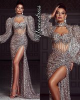 2021 Plus Size Arabic Aso Ebi Silver Sexy Sparkly Prom Dresses Long Sleeves High Split Beaded Evening Formal Party Second Reception Gowns ZJ344