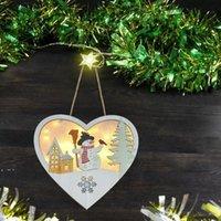 الصمام تنمو عيد الميلاد شكل ثلج على شكل قلب شنقا قلادة مضاءة خشبية اكليلا الزهور الحلي المعلقات ل شجرة عيد الميلاد الديكور 3 قطع DWA9179
