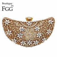Boutique de FGG Hollow Out Floral Luxury Sacs à main Femmes Cristal Soirée Sac d'embrayage Sacs de mariée de mariée de mi-lune Q1106
