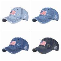 EUA Chapéus de Cowboy Trump American Beisebol Tampões Lavagem Afligido dos EUA Bandeiras dos EUA Sunshade Chapéu Cyz3284