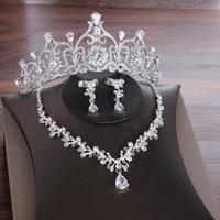 Brincos Necklace Noivas Zircon Jóias Conjuntos de Casamento Tiara Crown e Jewlry Conjunto Cúbico Nupcial Para As Mulheres ML883