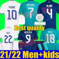 Real Madrid الفانيلة 21 22 كرة القدم قميص كرة القدم Alaba Hazard Sergio Ramos Benzema Modric Asensio Camiseta الكبار الرجال + أطفال كيت النساء 2021 2022 الزي الرسمي الرابع