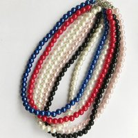 White Red Royal Blue Black Ivory Simulated Pearl Necklace Gifts Real Pictures Round For Women Bridal Wedding Accessory Chains