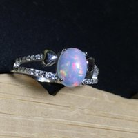 Round Natural Opal Stone Solid Silver 925 Rings Women 100% Sterling Jewelry Elegant Ladys Gifts Cluster