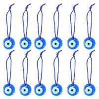 Pendant Necklaces 12pcs Blue Evil Eye Pendants Craft Bead Necklace Key Chain Accessories