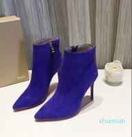designer Ankle Boot 10cm Heel Luxury Shoes Red bottom high heels Alta black calfskin leather WOMEN