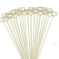 Gifts Wrap Packaging Florist Bouquet Gift Card Holders Golden Round Heart Star Metal Long Stick Flower Clip EWD10134