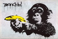 Monkey Banana Huge Oil Painting On Canvas Home Decor Handpai...