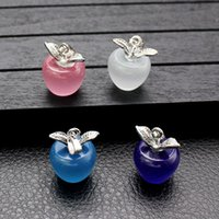 10 pc moda rosa branca charmas opala para brinco diy colar fazendo prata banhado pingentes de maçã acessórios jóias achados venda por atacado