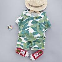 Hawaii Bebek Giysileri 1-4 Yıl Erkek Kapşonlu T-shirt Şort 2 adet Çocuk Tatil Kostüm Pamuk Bebek Çocuk Giysileri Kıyafetler 709 x2
