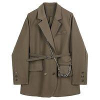 Женские костюмы Blazers LISCN Весна Осень 2021 Женщины Коричневый Карманный Карманный Большой Размер Blazer Отворотный Отопленок С Длинным Рукавом Свободная подходящая Куртка Модный прилив