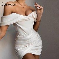 Cosygal off spalla drappeggiato sexy abito bianco donna backless bodycon vestito estivo mini elegante sottile notte abiti da festa abiti da club