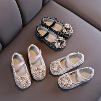 Sandals Girls' Shoes, Pearl Princess Costume Baby Children's Mary Jane Plaid Pearls, Non-Slip Seasons