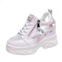 Rimocy Summer Women Sandals 9cm Cuñas Hueco Out Zapatillas de deporte Damas Tirable Plataforma de malla Zapatos casuales Mujer Blanco 210619 A2H5