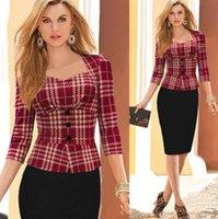 Wholesale-New women elegant uk dresses office fashion button full sleeve party women work dress pencil bodycon wear DFF1556