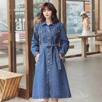 Women's Trench Coats Dressed in medium-length female jeans, trench coat with loose waist lace, Korean version, winter JKIL