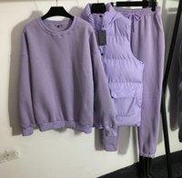 Women's warm three-piece suit, letter printed cotton vest jacket + round neck plus velvet sweater + elastic waist casual pants 7 colors 1014