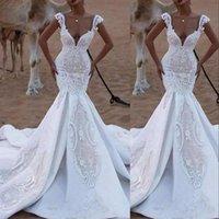 2021 Luxury Sexy Mermaid Wedding Dresses Bride Gowns Backless Saudi Arabia Deep V Neck Cap Sleves Illusion Lace Crystal Beads Plus Size Trumpet Vestidos de novia