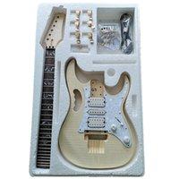 Kit de guitarra eléctrica Premium DIY DIY Proyecto inacabado Guitarra Kit de guitarra Cuerpo de arce Cuello de madera Diapasón de palisandro