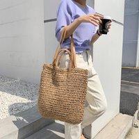 Evening Bags Casual Straw Women Shoulder Wicker Woven Handbags Rattan Summer Beach Bag Large Capacity Tote Lady Big Purses Shopper