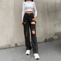 Women's Jeans Black Hole Ripped Distressed Straight Fashion Oversize High Waist Baggy Boyfriend Punk Denim Pants Street Iamty