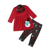 Christmas Girls Outfits Kids Clothing Sets Children Clothes Wear Long-Sleeved Top Dress Trousers Leggings Scarf 3Pcs B8469