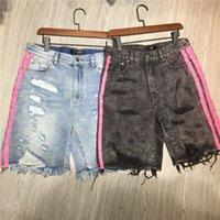 Luxurys Designer Mens Calças de Jeans Curtas Verão Clássico Rosa Stripe Am-Jeans Impressão Fluorescente Denim Denim Faca de Moda Tear Top Quality Tamanho 28-36