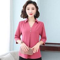 Nuove donne Primavera Stile Stile Chiffon Camicette Donne Casual Manica Corta V-Collo V-Plus Size Shirt Shirt Shirt Elegante Top DF3650 201201