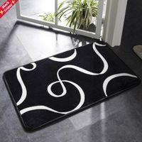 Esteira de banho preto e branco clássico padrão geométrico super macio macio banheiro porta antiderrapante tapete tapete tapete