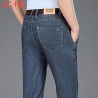 Jeans Masculinos 2021 Verão Denim Denim Mens Azul Esticamento Street Clássico Jenas Para Masculino Mid Cintura Tamanho 38 40 42 Pant