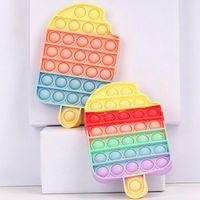 Desktop Fun Ice Cream Push Pop Bubble Fidget Toy Autism Special Needs Stress Reliever It Squeeze Sensory Toys for Kids gift
