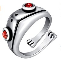 Anillo de rana de plata de la vendimia para las mujeres 3d accesorios lindos regalo de la Navidad joyería al por mayor