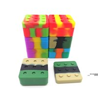 4 + 1 Funda de contenedor de silicona Caja cuadrada Caja de bloques de 36 ml para caja de bloqueo de cera DAB Hierbas secas de silicona Jarra de almacenamiento FWF6119