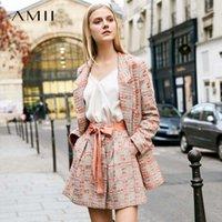 Amii minimalista tweed dos piezas conjunto otoño oficina señora suelta solapa blazer mini falda elegante hembra traje 11920008 11920009 210407