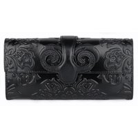 Wallets Factory Direct Sale 2021 First Layer Oil Wax Leather Women's Long Wallet Retro Classic Fashion Embossed Handbag