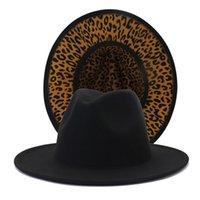 Black with Leopard Bottom Patchwork Wool Felt Jazz Fedora Hats Men Women Wide Brim Panama Two Tone Party Wedding Formal Hat